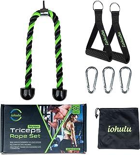 طناب مردانه و زنانه iohulu Tricep 36 اینچ | طناب تمرین طناب زدن برای بدنسازی خانگی | اتصال طناب ماشین کابل | مجموعه اتصال کابل طناب Tricep با کیسه ذخیره سازی به پایین بکشید