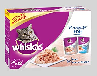 Whiskas Purrfectly Tuna & Salmon Wet Cat Food Pouches 85g (10+2free)