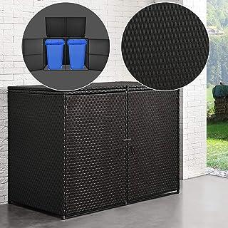 2 Tonnen PE-Rattan Mülltonnenbox Gerätebox Aufbewahrungsbox Gartenbox Müllbox DE