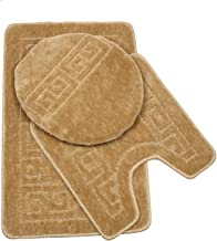"Pauwer 3 Piece Bath Rug Set Pattern Bathroom Rug 28.4""x17.7""/Contour Mat 17.7""x17.7""/ Lid Cover (Tan)"
