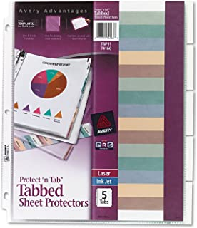 AVE74160 - Protect n Tab Top-Load Clear Sheet Protectors w/Five Tabs