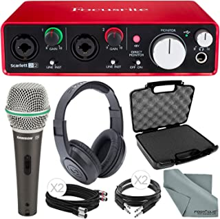 Focusrite Scarlett 2i2 (2nd Gen) USB Audio Interface and Deluxe Accessory Bundle with Protective Case + Samson Dynamic Microphone + Cables + More