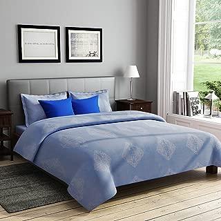 RAGO RELISH GEOMETRICAL PRINT BLUE AND WHITE Double Bedsheet Set