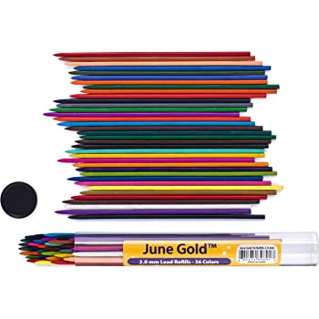 June Gold 36 Assorted Colored 2.0 mm Lead Refills, Bold & 90 mm Tall, 36 Unique Colors, Pre-Sharpened, Break & Smudge Resistant