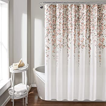 Lush Decor, Blush and Gray Weeping Flower Shower Curtain-Fabric Floral Vine Print Design, x 72