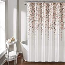 (Renewed) Lush Decor, Blush and Gray Weeping Flower Shower Curtain-Fabric Floral Vine Print Design, x 72