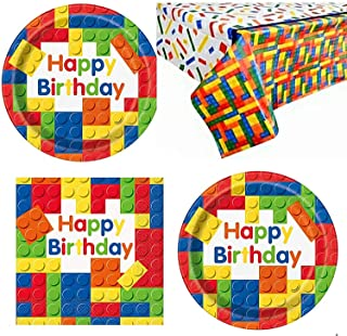 Colorful Building Blocks Birthday Party Plates and Napkins (Serves 32) (Plates, Napkins + Tablecloth)