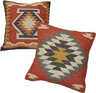 Handicraft Bazarr Kilim - Funda de cojín de yute étnico decorativo, hecha a mano, 45 x 45 cm, funda de cojín vintage de yute tejida a mano