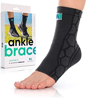 NATABRACE Ankle Brace Support Compression Sleeve (Pair) for Injury Recovery, Joint Pain. Plantar Fasciitis Foot Socks with Arch Support, Eases Swelling, Heel Spurs, Achilles Tendon (Medium, Black)