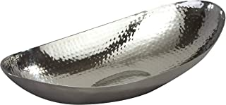 Elegance 72652 Hammered 14-1/2 by 8-Inch Stainless Steel Oval Fruit Bowl