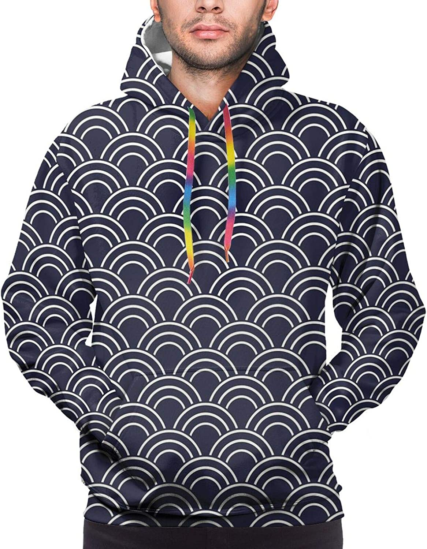 Men's Hoodies Sweatshirts,Marine Inspired Cartoon Sea Creatures Starfish Seahorse with Wavy Ocean and Stars