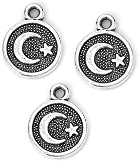 Star and Crescent Moon Pendant Charms, 95 Pack - Wholesale Bulk Lot 10mm (3/8