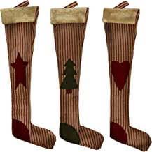CVHOMEDECO. Primitive Vintage Design 18 Inch Christmas Tree Hanging Stockings Rustic Star, Tree, Heart Xmas Hanging Decora...