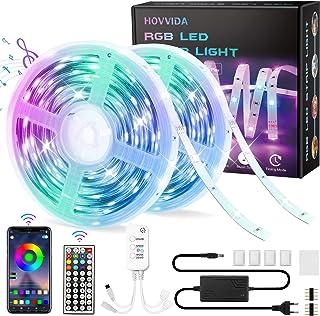 Ruban LED, HOVVIDA 20M Bluetooth Bande LED RGB 12V, Contrôlé par APP, IR Télécommande et Contrôleur, 16 Millions de Couleu...
