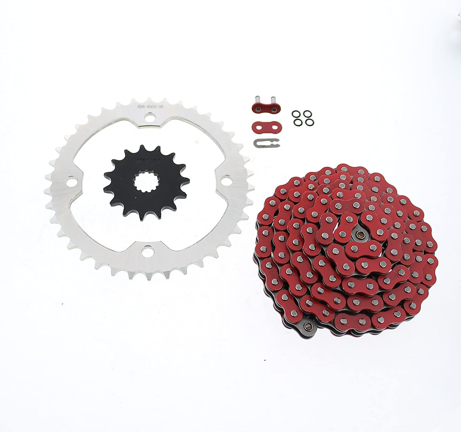 Red O-Ring Chain and Silver Sprocket 2004-20 fits 15 38 520-100L Daily bargain sale Free shipping
