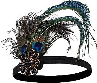 BABEYOND Damen 1920s Stirnband Pfau Feder 20er Jahre Stil Flapper Haarband Inspiriert von Great Gatsby Damen Kostüm Access...