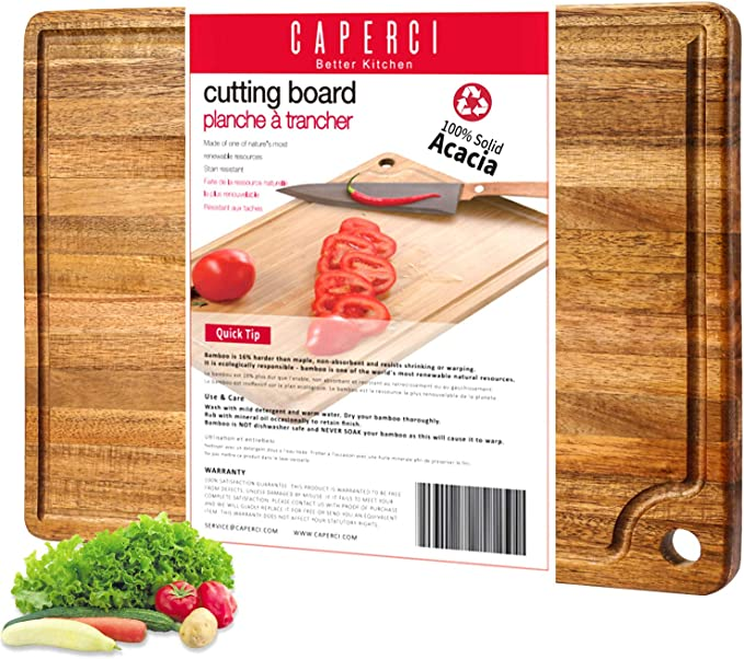 Caperci Large Acacia Wood Cutting Board - Best Resistance to Sharpest Blades