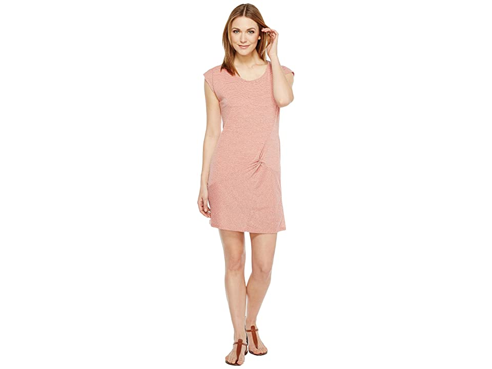 Mod-o-doc Pinstripe Jersey Asymmetrical Twist Front T-Shirt Dress (Coral) Women