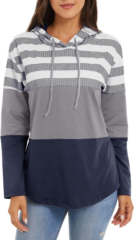 TACVASEN Women's Sweatshirts Casual Long Sleeve Color Block Lightweight Pullover Hoodies Stripe Drawstring Tops Spring Fall