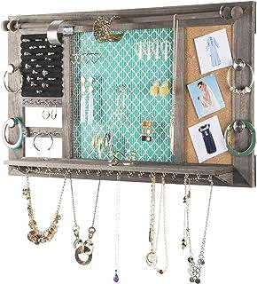 "Large Rustic Wall Mounted Jewelry Organizer: 28""x16"" Shabby Chic Jewelry Box Alternative Hanging Jewelry Organizer for Ear..."