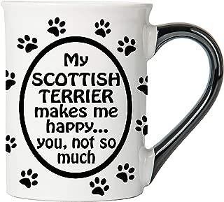 Cottage Creek Dog Mug Large 18 Ounce Ceramic My Scottish Terrier Makes Me Happy Coffee Mug/Scottish Terrier Gifts Terrier Gifts [White]