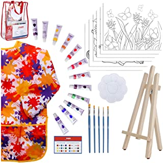 Kids Art Set for Girls – 28 Piece Acrylic Painting Supplies Kit with Storage Bag, 12 Washable Paints, 1 Scratch Free Paint...