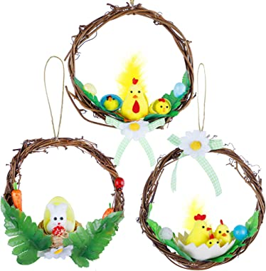 Lulu Home Set of 3 Mini Easter Rattan Wreath, 6 Inch Small Rustic Easter Wreath Adorned with Bunny, Chicks and Easter Eggs, S