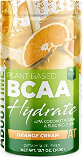 About Time Plant Based BCAA Hydrate Clear with L-Glutamine & Electrolytes (Non-GMO, Gluten Free, Monk Fruit) - Orange Crea...