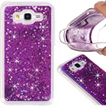 Galaxy On5 Case, On5 Case, VPR Sakura Liquid Quicksand Moving Stars Bling Glitter Floating Dynamic Flowing Love Heart Clear Soft TPU Protective Cover for Galaxy On5 (Purple)
