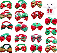 Yagopet 20pcs Christmas Small Dog Bow Ties Cat Dog Bowties Collar for Christmas Festival Dog Ties Dog Grooming Accessories