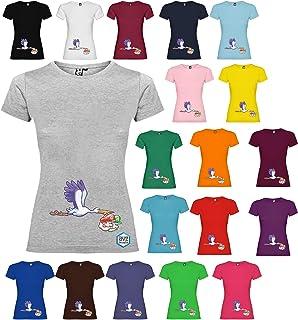 Maglietta personalizzata donna Cicogna Twins gemelli t-shirt disegno vari colori