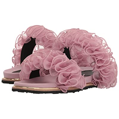 Suecomma Bonnie Chiffon Ruffle Detailed Flat Sandals (Pink) Women