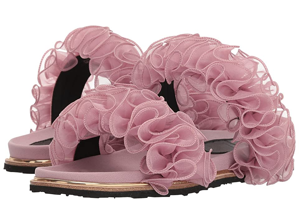 Suecomma Bonnie Chiffon Ruffle Detailed Flat Sandals (Pink) Women