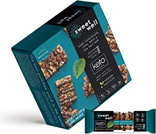 Sweetwell Dark Chocolate, Chia, Nuts, and Sea Salt Snack Bars, Low-Carb, Keto-Friendly, Sweetened with Stevia (10-Pack)