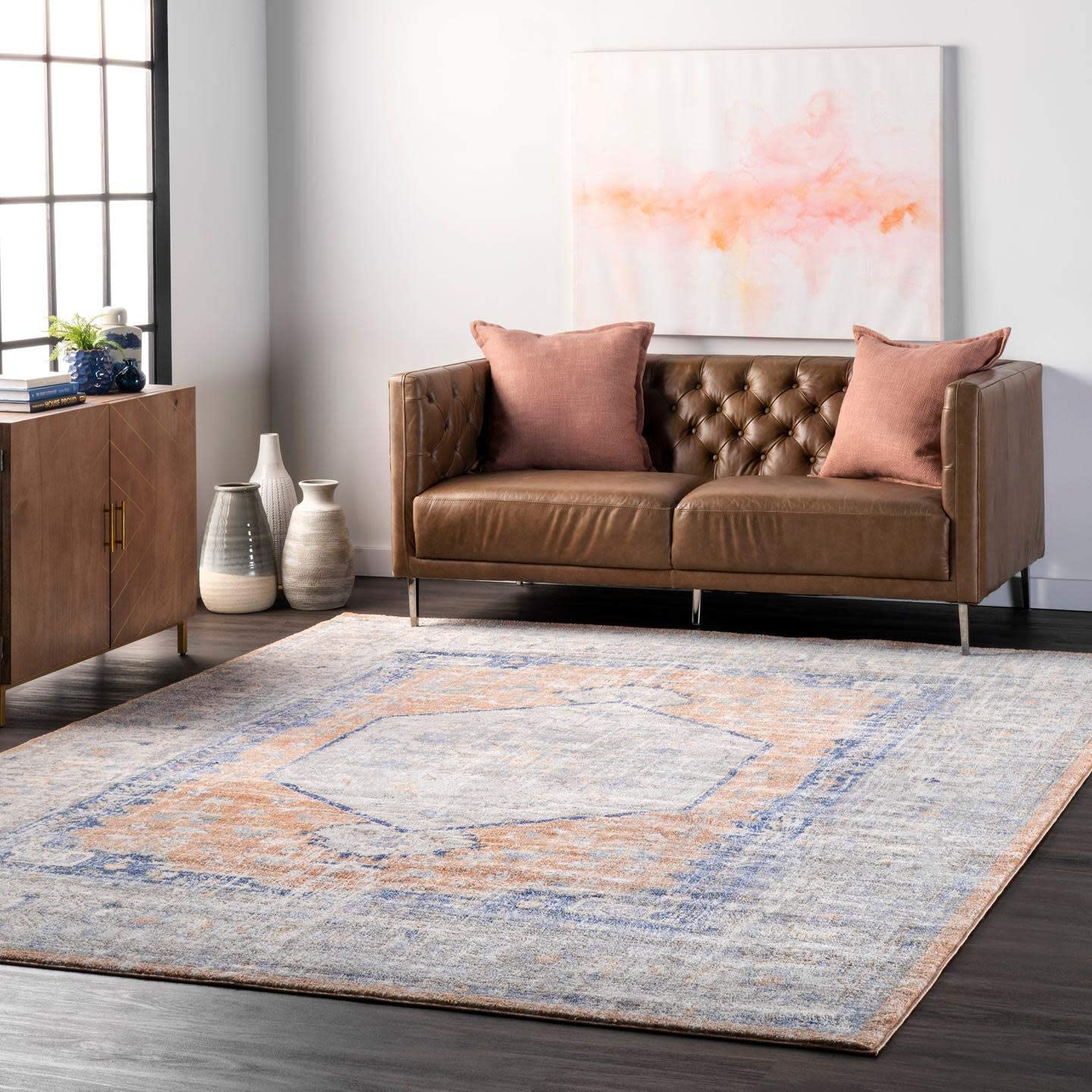 nuLOOM Vintage Jacquie Floral Area Popular shop is the lowest price challenge 6' Round Rug Sale Peach