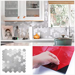 HomeyMosaic Peel and Stick Tile Backsplash Stick on Kitchen Wall Decor Aluminum Surface Metal Smart Tiles Sticker,Hexagon Silver(12