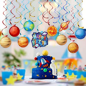 50 Pieces Solar SystemParty Decorations Space Planet Hanging Swirls Ceiling Decoration Universe Space Shiny Foil Swirls Hanging Decoration for Solar System Party Supplies Ceiling Decor