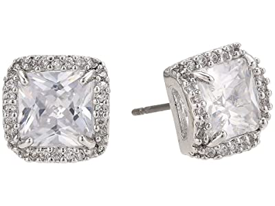 Kate Spade New York That Sparkle Princess Cut Large Studs Earrings (Clear/Silver) Earring