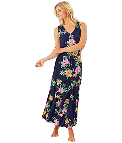 Tommy Bahama Sun Lilies V-Neck Tiered Dress (Mare Navy) Women