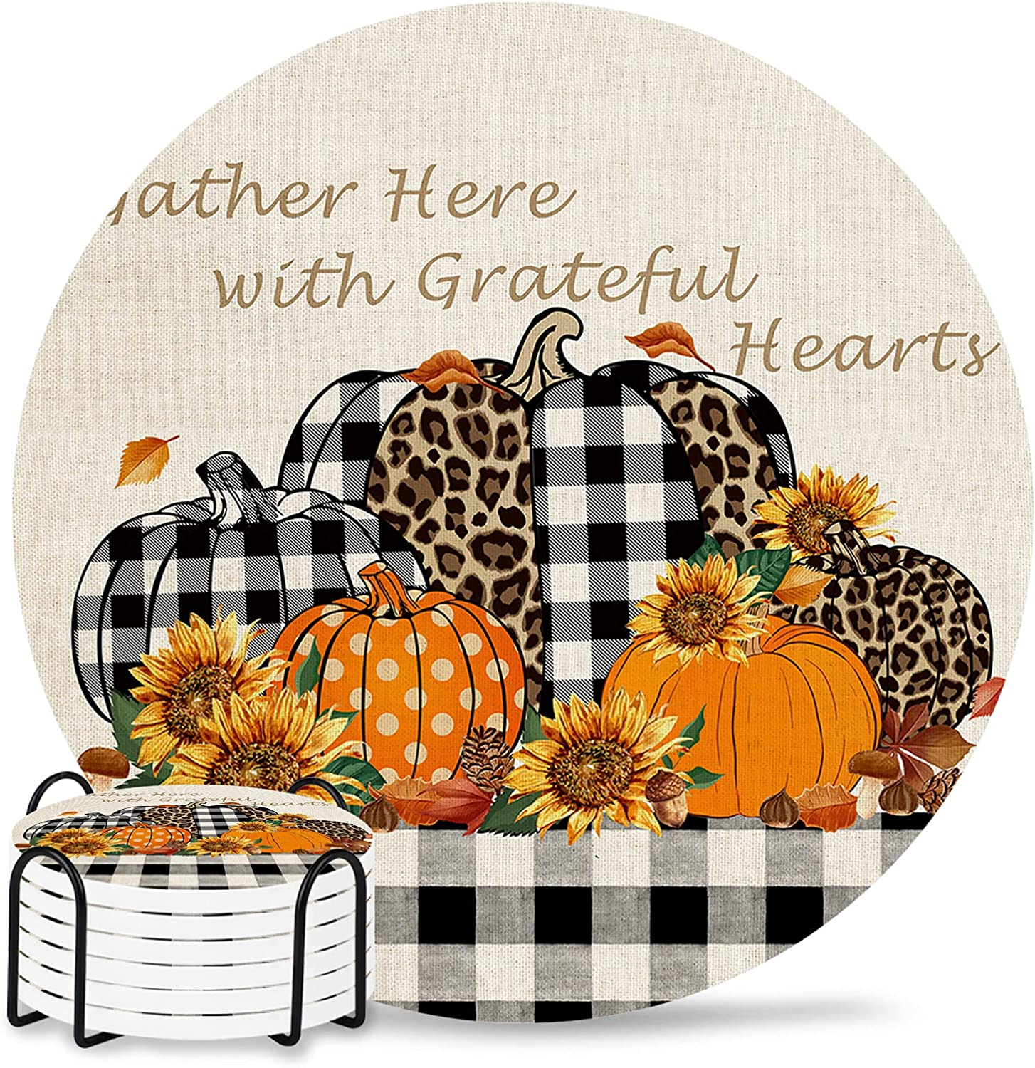 Thanksgiving Ceramic Coasters for Drinks Holde 6-Piece Set with Super Dallas Mall intense SALE
