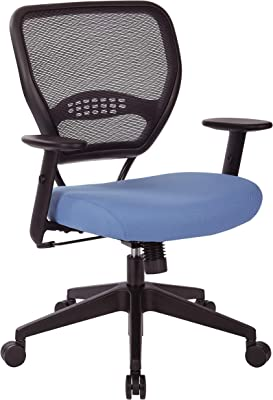 Space Seating 55 Series Professional Black Air Grid Back Adjustable Manager's Chair with Lumbar Support and Padded Sky Fabric Seat