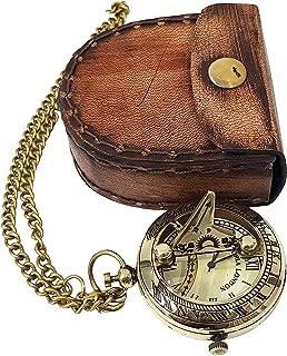 Antique Sundial Style Brass Pocket Watch Chain Pendant Leather Case Marine Clock Royal Craft