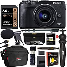 Canon EOS M6 Mirrorless Mark II Camera with Viewfinder and EF-M 15-45mm Lens (Black) CN3611C011 with Lexar 64GB Memory Card, Tabletop Tripod, Filter Kit, Memory Card Reader and Camera Bag