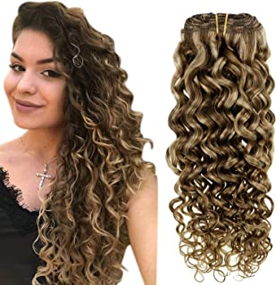 Easyouth Curly Clip in Extensions Real Remy Human Hair Brown Mix with Blonde Human Hair Extensions Clip in Natural Wave Cl...