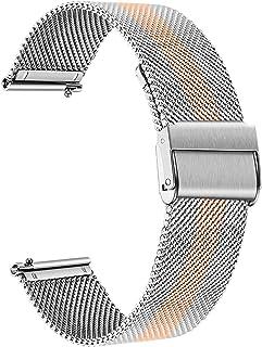 TRUMiRR Watchband for Fossil Women's Gen 4 Venture HR, 18mm Mesh Woven Stainless Steel Watch Band Quick Release Strap Wristband for Fossil Q Women's Gen 3 Venture