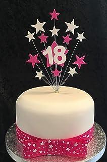 Karens Cake Toppers Rose Vif g/âteau de Guitare /électrique avec Noir Rose et /étoiles Blanc Plus 1/x M 25/mm Rose et Blanc /étoiles Ruban Gros-Grain avec n/œud mont/é