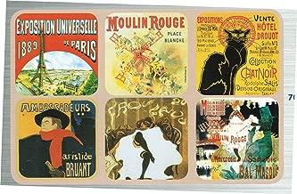 Set of 6 New Cork Back Coasters Paris Scenes Chat Noir Moulin Rouge Eiffel Tower