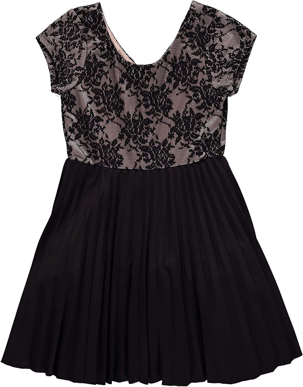 Little Birls Black Bonded Lace Pleated Scuba Knit Social Party Dress
