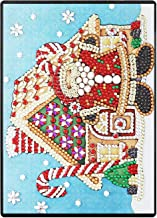 RICUVED DIY 5D Diamond Painting Notebook Cover Kits Special Shaped Pattern Faux Leather Lined Journal Sketchbook Premium Thick Paper A5 Santa Claus