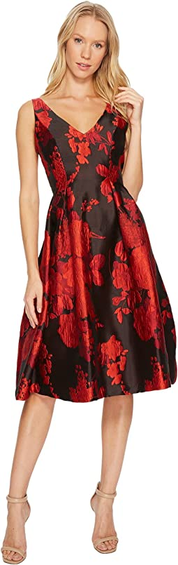 Adrianna Papell - Scarlett Jacquard Tea Length Fit and Flare Dress